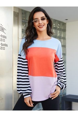 YOINS Multicolor Patchwork Round Neck Long Sleeves Tee