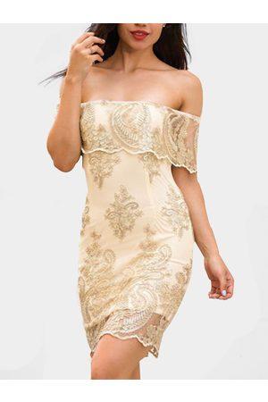 YOINS Off Shoulder Long Sleeves Crochet Lace Dress