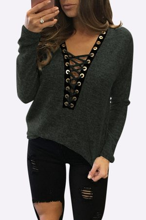 YOINS Sexy Deep V-neck Lace-up Front Casual T-shirts in Army