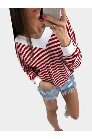 YOINS Red and White Stripe Pattern V-neck Long Sleeves Top