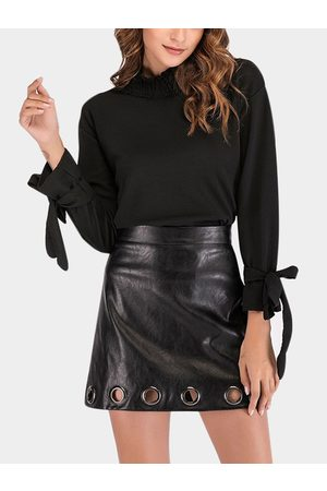 YOINS Pleated Design Perkins Collar Self-tie Design Long Sleeves T-shirts