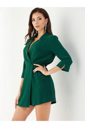YOINS Women Long Sleeve - Green Wrap Design Lapel Collar Long Sleeves Playsuit