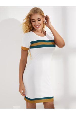 YOINS White Striped Round Neck Short Sleeves Dress