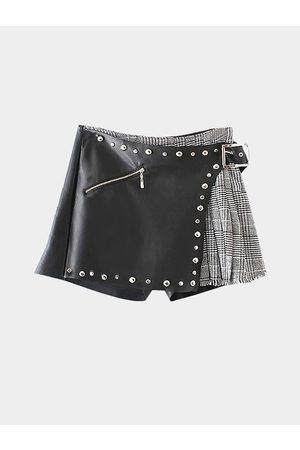 YOINS Fashion Zipper Design Rivets of Metal Skort