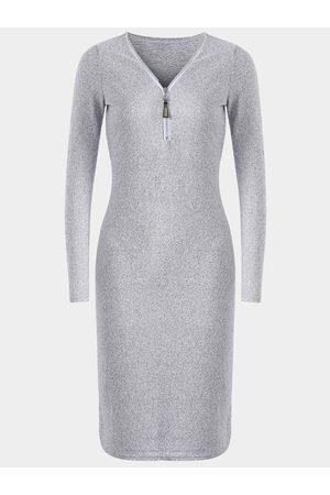 YOINS Grey Zip Design V-neck Long Sleeves Dress