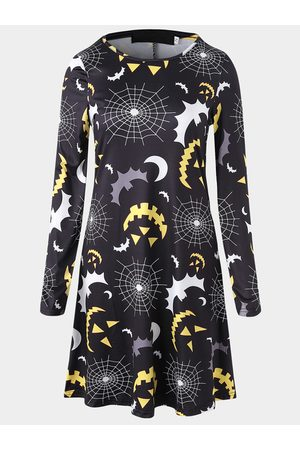 YOINS Random Abstract Print Round Neck Long Sleeves Mini Dress