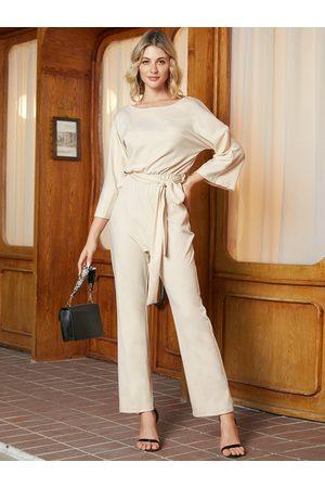 YOINS Beige Belt Design Long Sleeves Jumpsuit