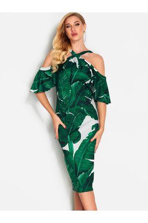 YOINS Tropical Printed Flared Design Fashion Dress