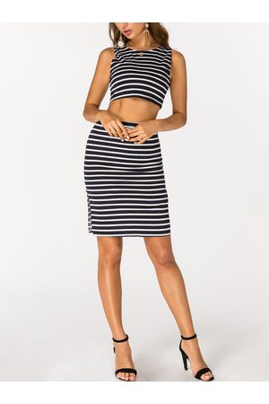 YOINS Navy and White Stripe Crop Top and Skirt Co-ord