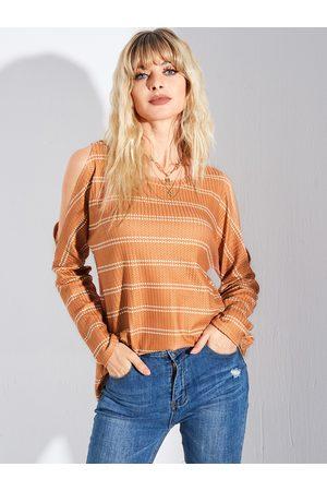 YOINS Orange Striped Cold Shoulder Long Sleeves Tee