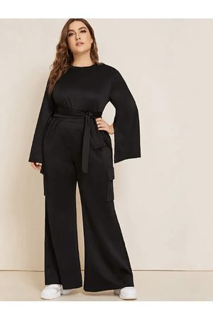 YOINS Plus Size Black Side Pockets Long Sleeves Two Piece Outfits