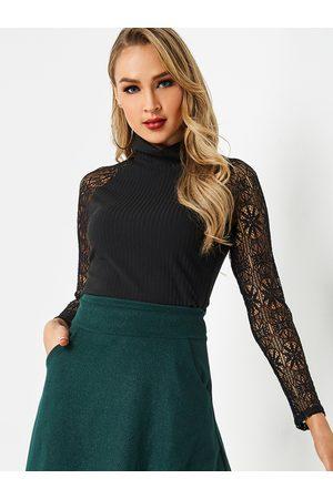 YOINS High Collar Thread Lace Stitching Top