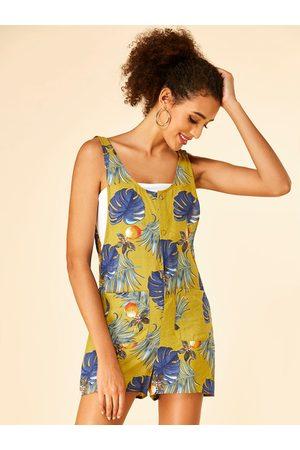 YOINS Backless Design Tropical Print Scoop Neck Sleeveless Playsuit