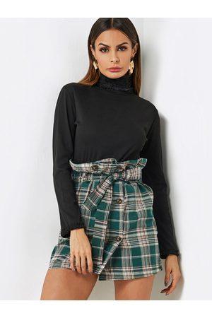 YOINS Pleated Design Plain Ruffle Perkins Collar Long Sleeves Tee