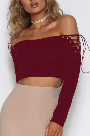 YOINS Lace-up Design Off The Shoulder Long Sleeves Top