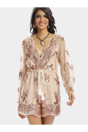 YOINS Plunge V-neck Long Sleeves Playsuit with Sequins