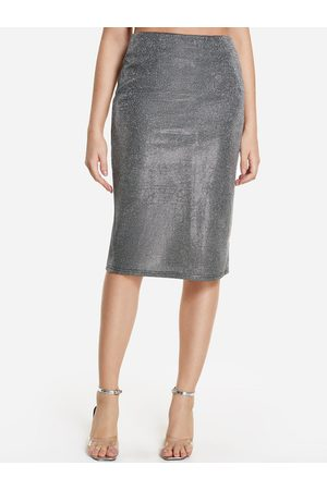 YOINS High-waisted Slit Hem Metallic Skirt