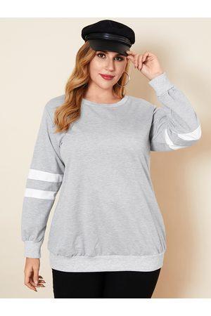 YOINS Plus Size Crew Neck Striped Long Sleeves Sweatshirt