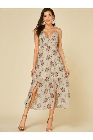 YOINS Apricot Adjustable Shoulder Straps Floral Print Deep V Neck Dress