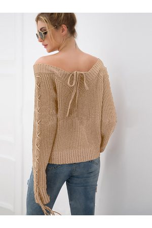 YOINS Lace-up Design Off The Shoulder Sweater