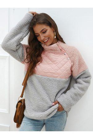 YOINS Color Block High Neck Button Design Plush Sweatshirt