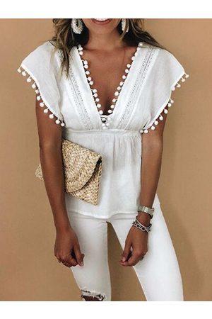 YOINS White Tassel Details Deep V Neck Short Sleeves Blouse