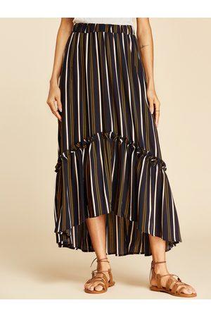YOINS Multi Lettuce-edge Stripe Pattern Maxi Skirt