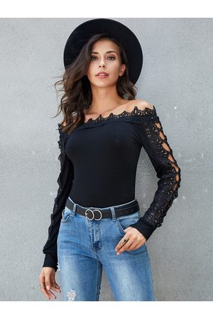 YOINS Crochet Lace Off The Shoulder Long Sleeves Tee