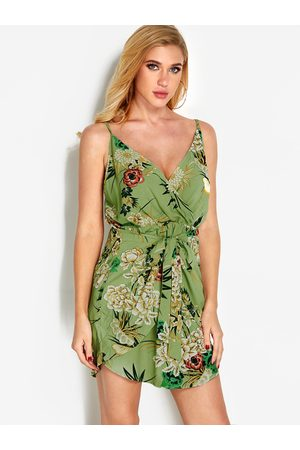 YOINS Floral Print V neck Backless Sexy Dress
