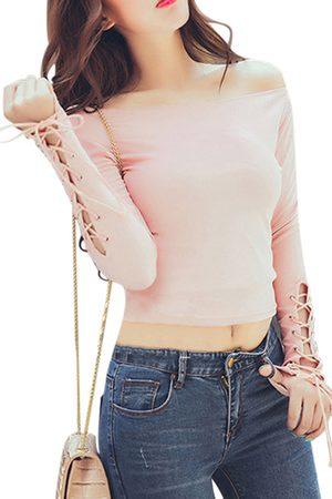 YOINS Women Blouses - Off Shoulder Lace-up Long Sleeves Blouse