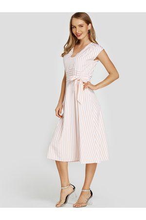 YOINS Self-tie Design Stripe V-neck Backless Midi Dress