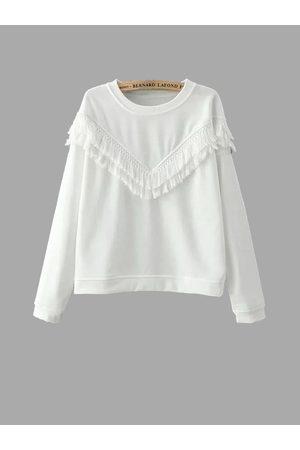 YOINS White Fringed Sweatshirt