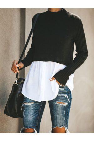 YOINS Black Button Design Patchwork Turtleneck Long Sleeves Sweater