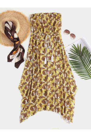 YOINS Backless Design Off The Shoulder Drawstring Waist Dress