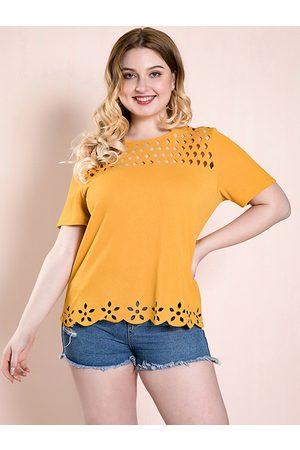 YOINS Plus Size Yellow Hollow Design Short Sleeves Tee