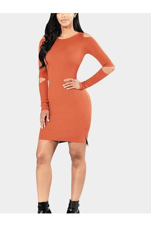 YOINS Women Knitted Dresses - Knit Round Neck Cold Shoulder Mini Dress in