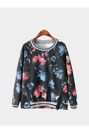 YOINS Floral Print Zipper Sweatshirt