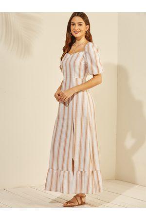 YOINS Apricot Stripe Square Neck Split Lantern Sleeves Dress