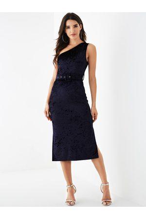 YOINS Velvet Belt Design One Shoulder Sleeveless Dress