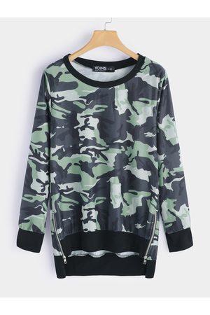 YOINS Women Long Sleeve - Camouflage Zipper Design Round Neck Long Sleeves Top