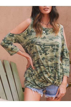 YOINS Women T-shirts - Camouflage Knotted Fashion T Shirt