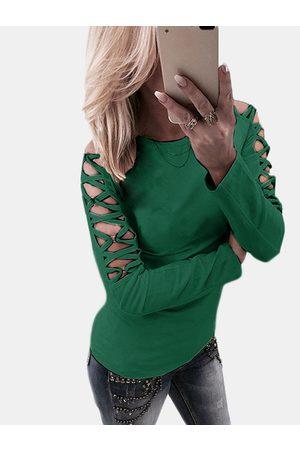 YOINS Women Long Sleeve - Hollow Design Criss-cross Detials Long Sleeves T-shirt