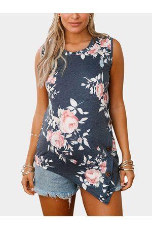 YOINS Women Tank Tops - Floral Print Round Neck Button-down Tank Top