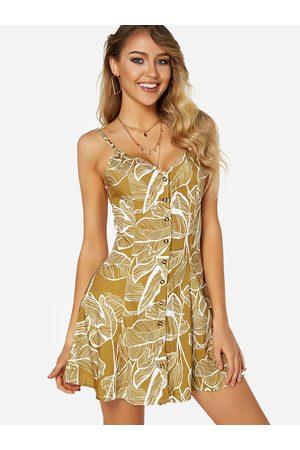 YOINS Random Floral Print V-neck Sleeveless Single Breasted Design Dress