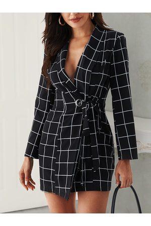 YOINS Tie-up Design Check V-neck Long Sleeves Dress