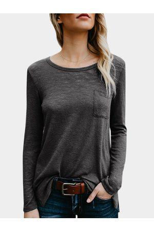 YOINS Women Long Sleeve - Dark Crew Neck Long Sleeves Pocket Design T-shirt
