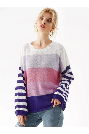 YOINS Multi Color Stripe Round Neck Long Sleeves Jumper