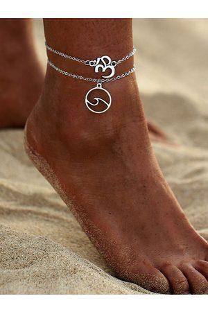 YOINS Silver Letter & Wave Pendant Double Layer Anklet