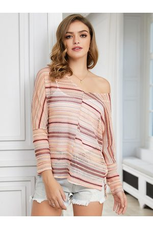 YOINS Pink Hollow Design Striped One Shoulder Long Sleeves Shirt
