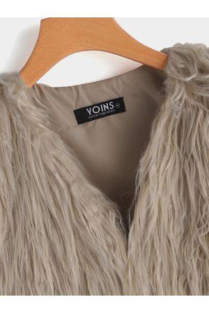 YOINS Light Khaki Fashion Sleeveless Artificial Fur Coat